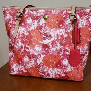 Coach floral print peyton top zip tote